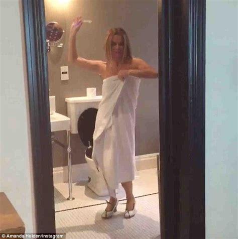 dancing in the bathroom britain s got talent s amanda holden shows off her dancing