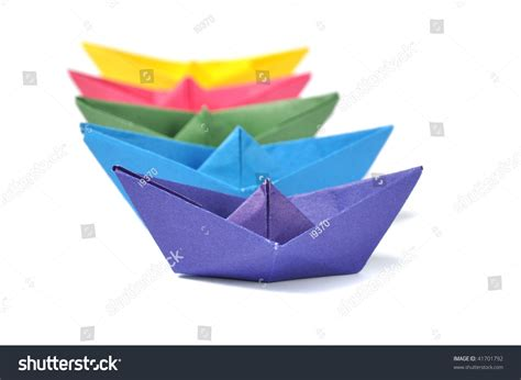 Origami Cruise Ship - origami ship white stock photo 41701792