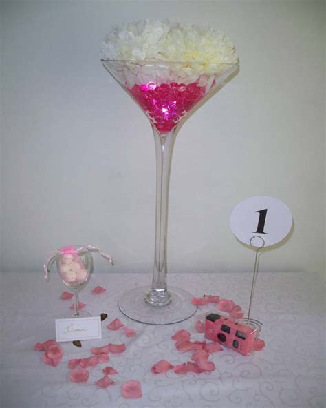 Martini Vase Centrepiece by Wedding Table Centrepiece Hire Venue Dressing Company