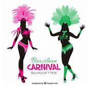 Siluetas De Disfraz Carnaval Brasile&241o  Descargar Vectores