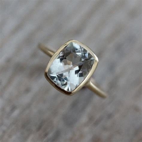 cushion aquamarine ring gold engagement ring march
