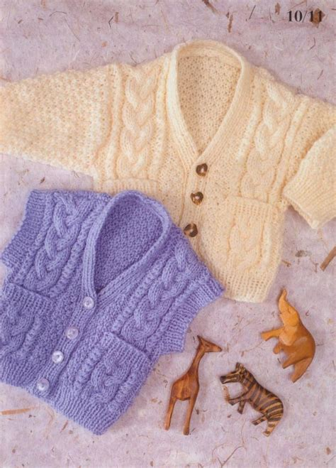 knitting pattern waistcoat cabled waistcoat cardigan knit pattern for baby