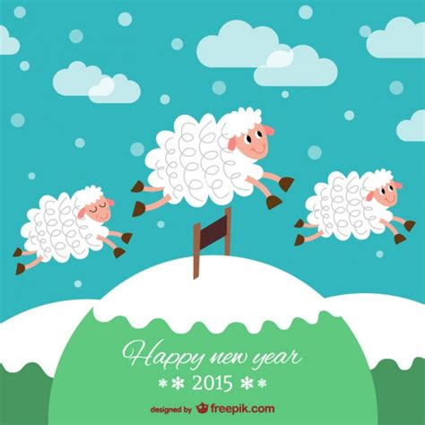 new year year of the sheep facts neujahrskarte mit schafen der kostenlosen vektor