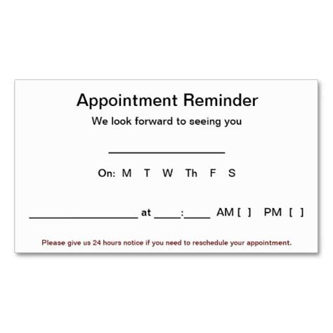 Appointment Reminder Cards 100 Pack White Business Card Templates Appointment Reminder Appointment Reminder Cards Template Free
