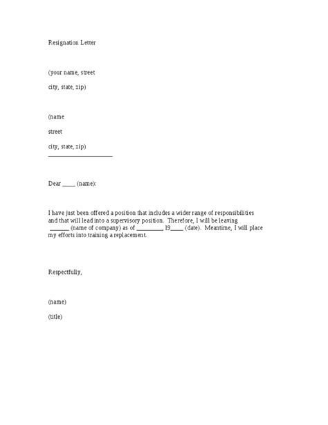 template for a resignation letter resignation letter template hashdoc