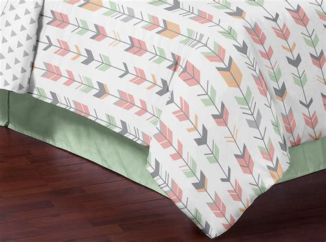 arrow bedding mint gray coral white queen full rustic woodland arrow bed