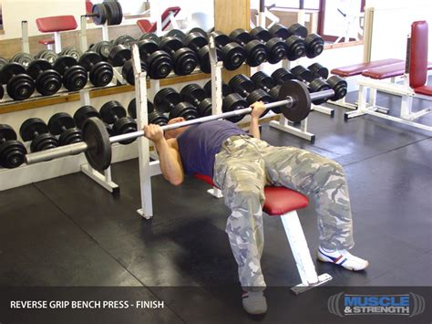 underhand grip bench press reverse grip bench press video exercise guide tips