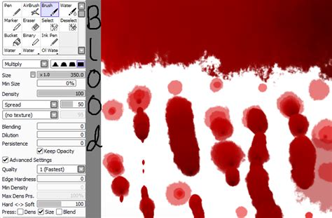 Paint Tool Sai Blood Tutorial By Thesapphirewolffox On