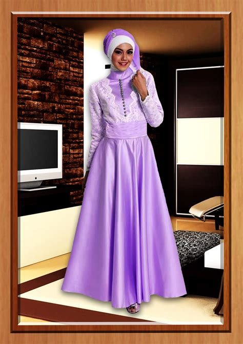 Gaun Pesta Modern Code 00313c15 purple tafetta baju muslim gamis modern
