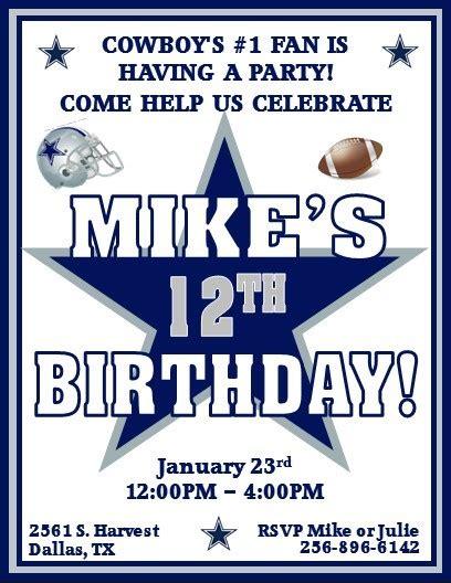12 Printed Dallas Cowboys Football Thenotecardlady Dallas Cowboys Invitation Template