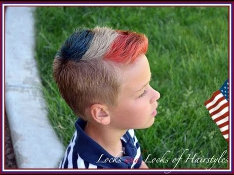 patriotic 4th of july hairstyle: red, white, blue fohawk