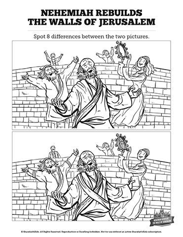 free bible coloring pages nehemiah book of nehemiah spot the difference can you spot