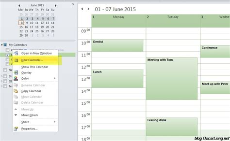 Create Calendar Create And Calenders In Microsoft Outlook Oscar Liang