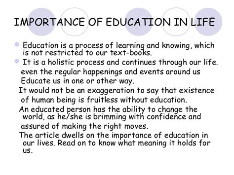 The Importance Of Essay by Importance Of Education