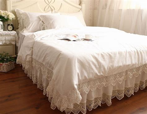 lace bedding victorian style white wide crochet lace nice cotton duvet