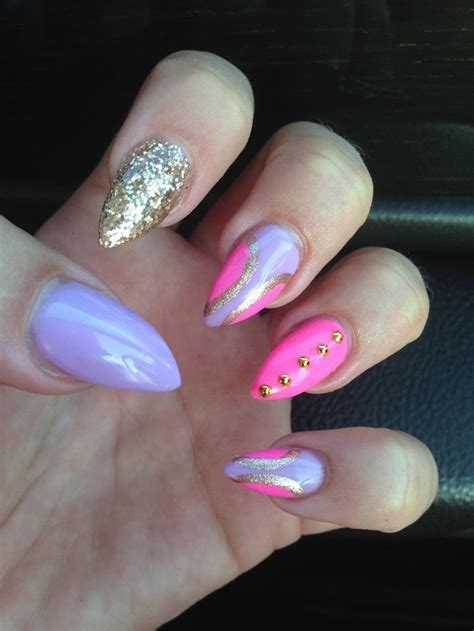 purple nail beds vegas pointy nails pink and purple nails