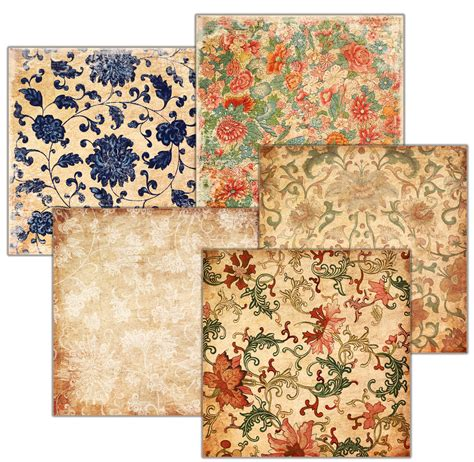 Decoupage Using Wallpaper - decoupage background vintage wallpaper set of 5