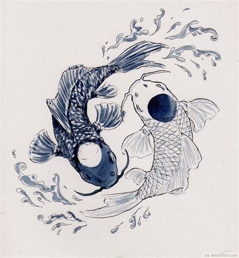 yin yang fish tattoos designs delicate koi pisces yin yang watercolor painting