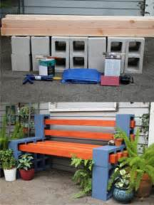 Diy outdoor bench from concrete blocks amp wooden slats 1001 gardens