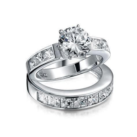 wedding rings sterling silver 2ct round cz princess engagement wedding