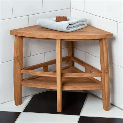 teak corner shower seat bathroom