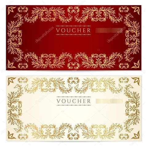 voucher gift certificate template with pattern floral