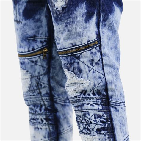 denim house jeans denim house acid wash dipped moto jeans blue villa