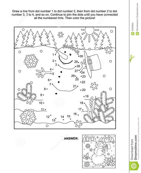 new year themed coloring pages dot to dot and coloring page snowman stock vector