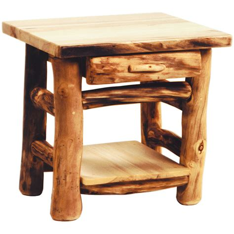 Aspen Log Rustic End Table With Drawer Rustic Coffee Rustic Coffee Table And End Tables