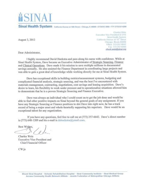 Letter Of Recommendation For Mba Finance chuck weis cfo and evp of finance sinai health system letter of rec