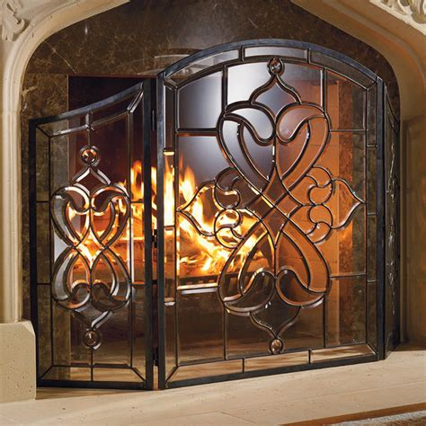 isla glass fireplace screen traditional screens and