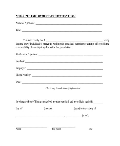 Employment Verification Letter Notarized Sle Employment Verification Form 13 Free Documents In Pdf