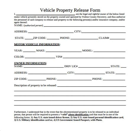 vehicle release form vehicle release form vehicle release