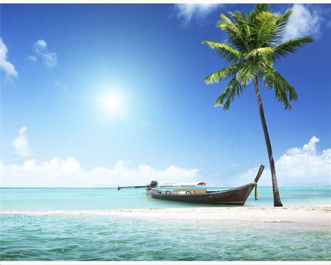 sulla spiaggia barca di legno sulla spiaggia natura sta su tela