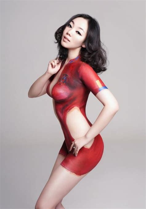 hot paint xyber bites hot asian girls body paint for football worldcup