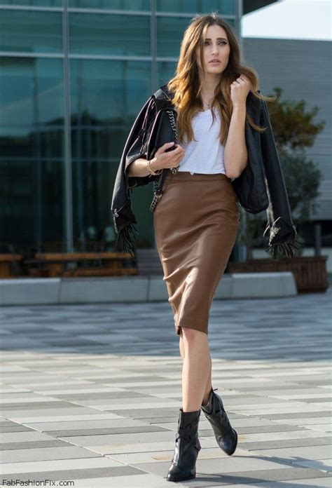 what to wear with brown leather skirt dress