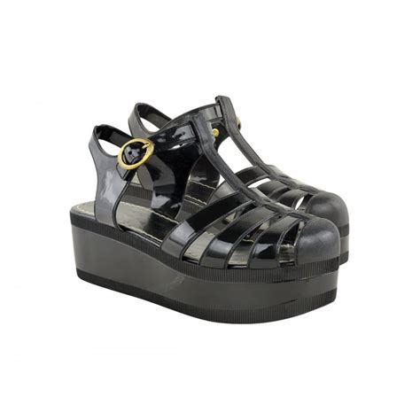 black jelly cut out wedges from parisia fashion