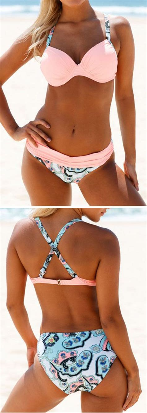 Set Overal Back To Cross patchwork criss cross back pink set fashion 2017 swimsuits and swimwear