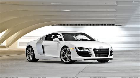 Front Side Pose Of Audi R8 In White Wallpaper