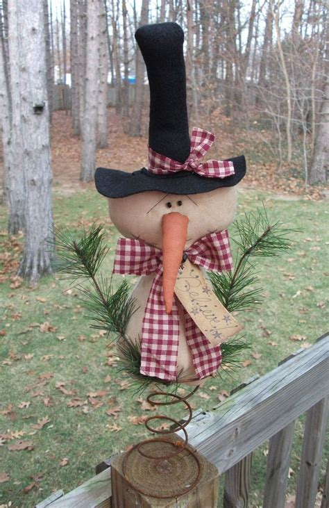 primitive country snowman tree topper primitive snowman doll believe tag tree topper winter decoration naiveprimitive