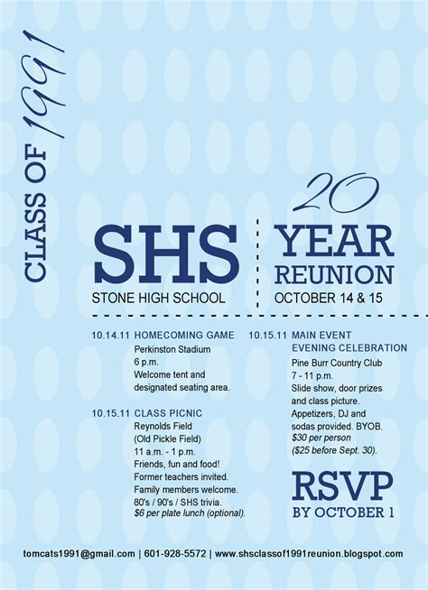 Reunion Invitation Card Templates by High Class Of 1991 20 Year Reunion Reunion