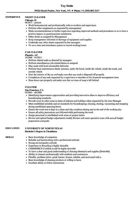 Janitor Resume Sle