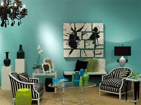 aqua living room furniture regency redux room with aqua blue walls and black and white upholstered furniture and decorative