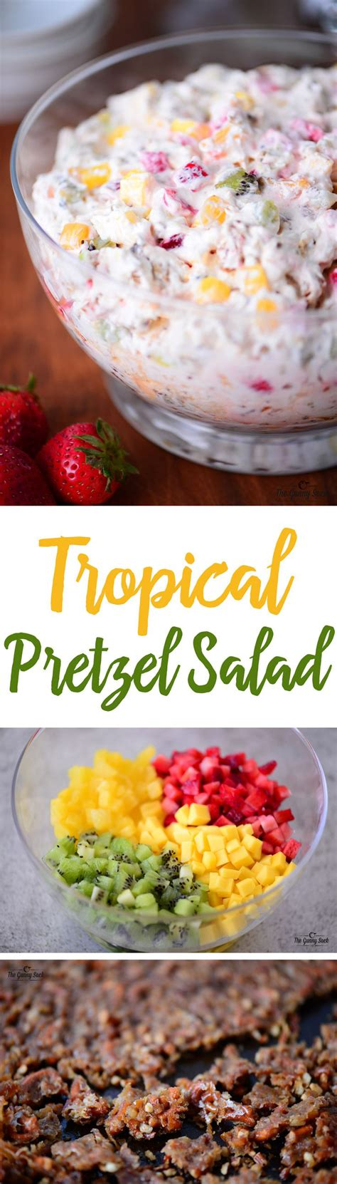 summertime tropical fruit salad recipe allrecipescom tropical fruit pretzel salad recipe sacks summer and