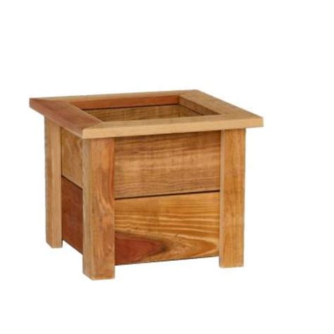 Home Depot Small Wood Box Hollis Wood Products 15 3 4 In Square Redwood Planter Box
