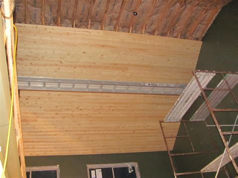 building the turner house the start of a knotty pine ceiling