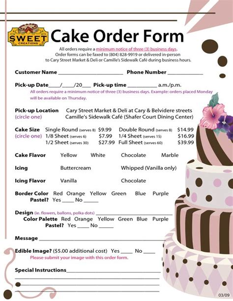 Cake Order by Order Forms Cake Negocios Cakes Search
