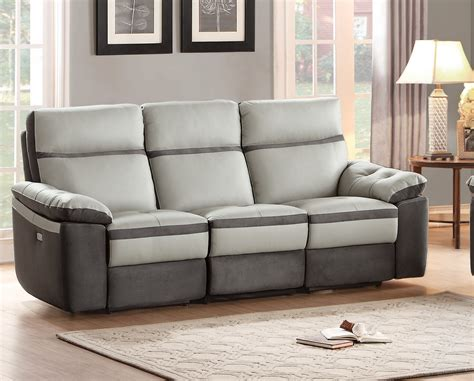 Grey Leather Reclining Sofa by Homelegance Otto Top Grain Grey Leather Power Reclining Sofa