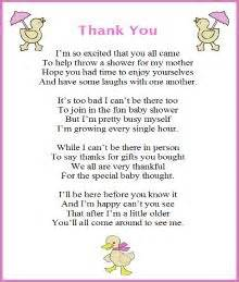 thank you poem from baby baby shower ideas