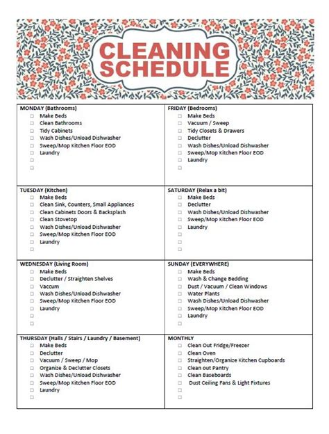 printable housekeeping schedule free printable cleaning schedule frugal mom eh